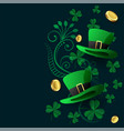 lovely st patricks background with hat coin and vector image vector image