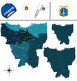 map of jakarta with districts vector image vector image