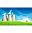 Nuclear plant station and lonely tree vector image