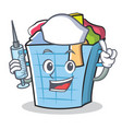 nurse laundry basket character cartoon vector image vector image