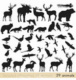 set of animal silhouettes for design vector image