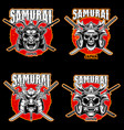 Set vintage monochrome samurai helmets and