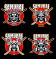 set vintage monochrome samurai helmets vector image vector image