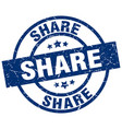 share blue round grunge stamp vector image vector image