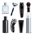 shaving equipment realistic set vector image