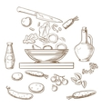 sketch of cooking salad process vector image vector image