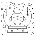snow globe with a bird coloring page black and vector image