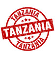 tanzania red round grunge stamp vector image vector image
