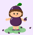 the kid is dressed in a purple plum vector image vector image