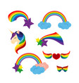 unicorn with closed eyes rainbows stars heart vector image vector image