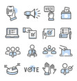 voting and election set thin line icons vector image