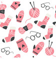 winter knitted clothes and knitting tools pattern vector image
