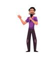 young latin man singing karaoke holding vector image vector image