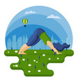 young plus size woman does yoga in summer on vector image vector image