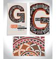 Ancient Business card design LETTER G vector image
