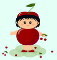 baby in a red cherry costume vector image vector image