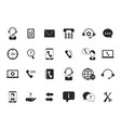 black symbols online support icon set call vector image