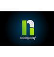 blue green white logo n alphabet letter design vector image vector image