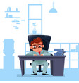 business man boss sit at office desk working with vector image vector image