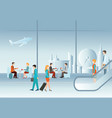 business people in airport terminal vector image vector image