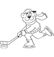 Cartoon bear playing hockey vector image vector image