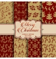 Christmas Collection of seamless patterns with red vector image vector image
