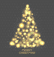 christmas tree of glowing light bulbs on a light vector image vector image