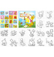 coloring book - cute animals collection vector image