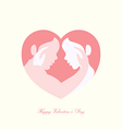 Couple caressing in heart shaped silhouette vector image vector image