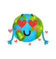 cute cartoon funny earth planet emoji in love vector image