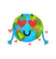 cute cartoon funny earth planet emoji in love vector image vector image