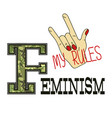 feminism slogan fashion camouflage print vector image vector image