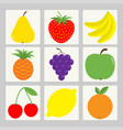 fruit berry icon set square shape pear strawberry vector image