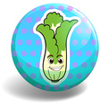 Green lettuce on blue badge vector image vector image