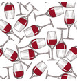 hand drawn engraved wineglass seamless pattern vector image