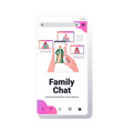 hands using smartphone chatting with arabic people vector image vector image