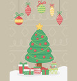 hanging light tree and gift boxes celebration vector image vector image