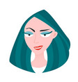 head a woman with turquoise hair vector image vector image