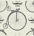 ink hand drawn retro bicycles seamless pattern vector image vector image