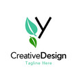 letter y leaf naturally creative business logo vector image vector image
