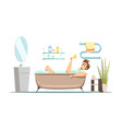 man taking bath in bathroom vector image