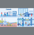 people go on trip and meet relatives in airport vector image vector image