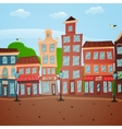 Poster with town view vector image vector image