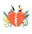relationship themed couple break up concept vector image