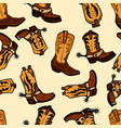 seamless pattern with cowboy boots design element vector image vector image