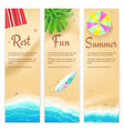 set summer travel banners tropical landscape vector image vector image