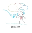 speaker in headphones speaks into a microphone vector image
