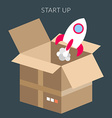 Startup concept of box and starting rocket vector image