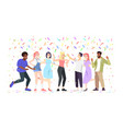 students dancing having fun young people vector image