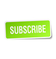 Subscribe green square sticker on white background
